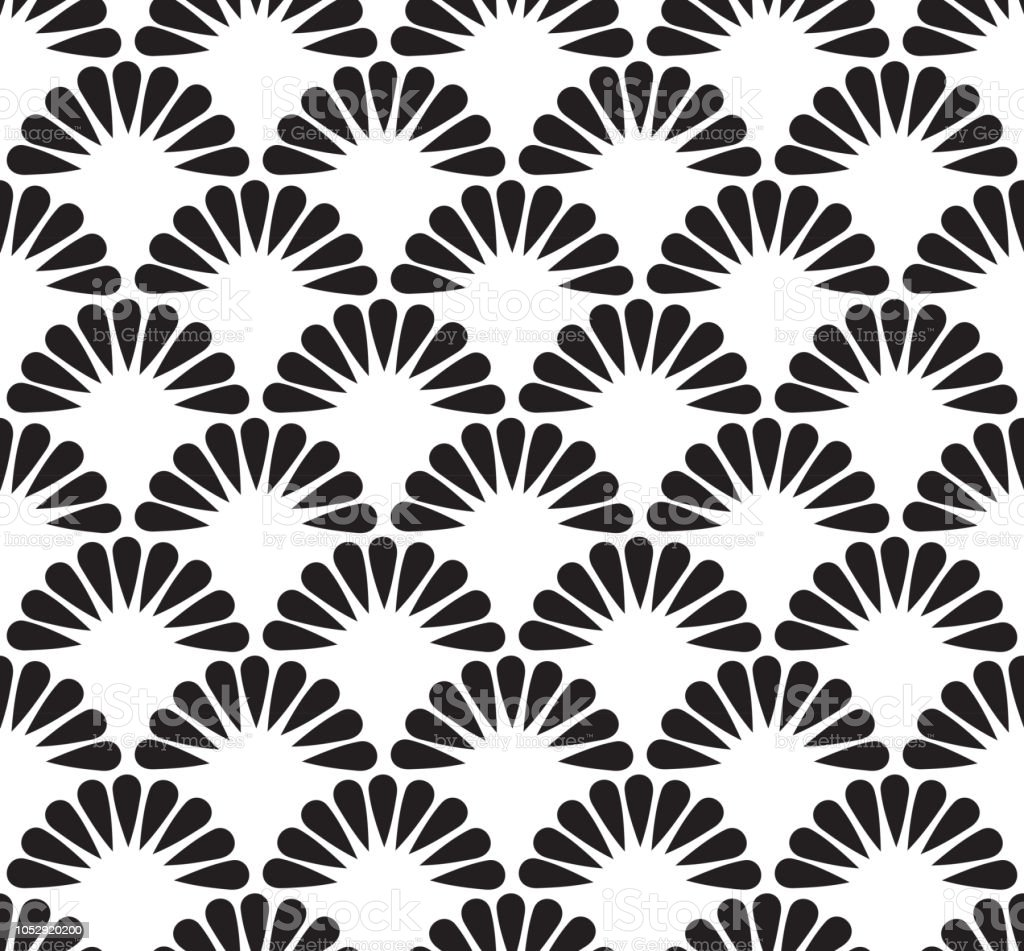 Seamless Pattern Geometric Wave Of The Sea Abstract Scales Simple Nature Background Japanese Circle Black White Colors Vector Stock Illustration