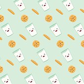 Seamless pattern glass of milk and chocolate chip cookies on blue background. Vector cartoon design.  Vector illustration.