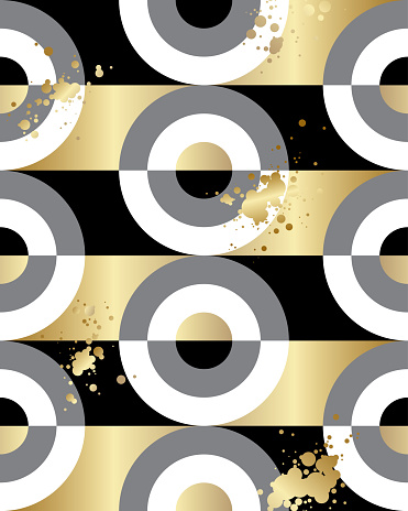 Black, white and gold geometric shapes and golden splashes.