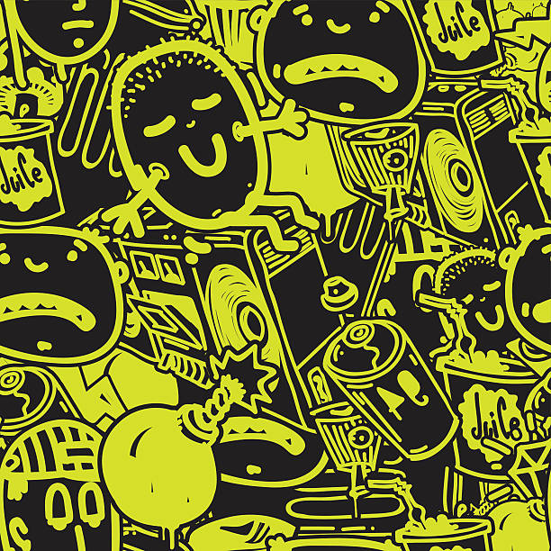 seamless pattern graffiti - alphabet backgrounds stock illustrations