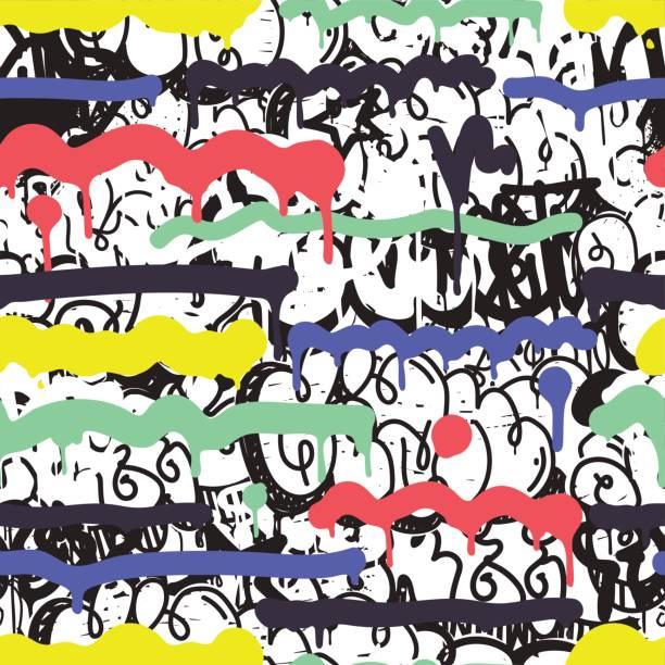 seamless pattern graffiti - artsy backgrounds stock illustrations