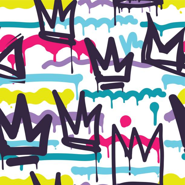 Seamless pattern graffiti Vector tags seamless pattern. Fashion black and white graffiti hand drawing design texture in hip hop street art style for t-shirt skateboard textile vandalism stock illustrations