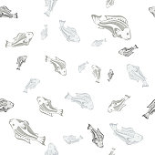 seamless pattern gray fish