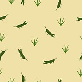 Seamless pattern green Locust and grass on yellow, vector eps 10