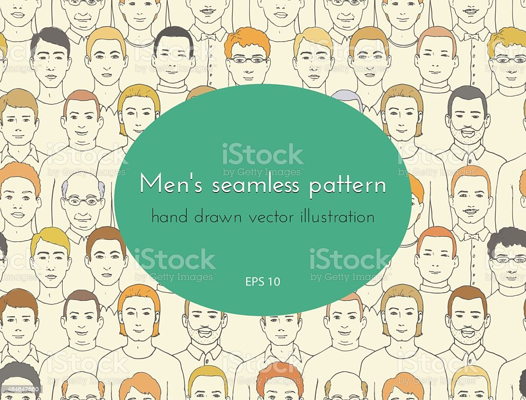 seamless pattern. group of men of all ages and nationalities vector art illustration