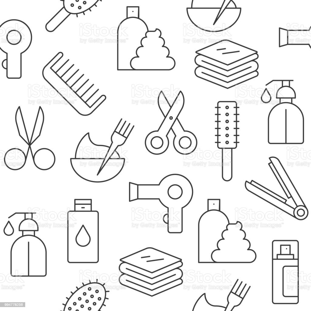 Seamless Pattern Hair Salon Set Outline Icon Suitable For Wallpaper And Background Royalty Free