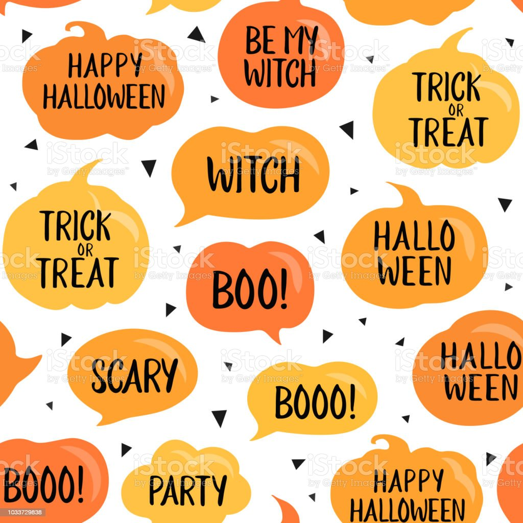 Vetores De Bolhas De Discurso De Halloween Padrão Sem Emenda