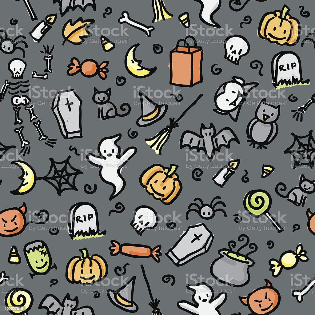 seamless pattern: halloween (color) vector art illustration