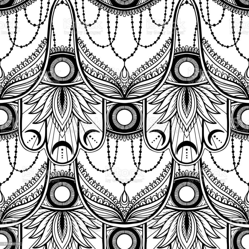 Seamless Pattern Hamsa Talisman Religion Asian Black Color