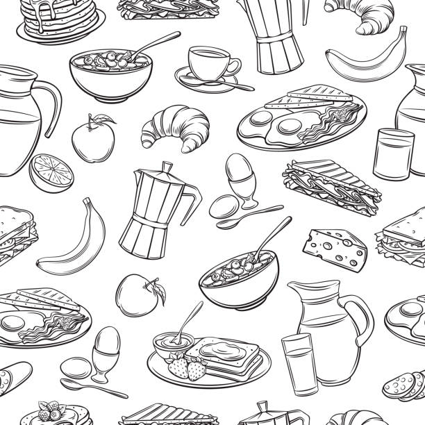 seamless pattern hand drawn breakfast Vector seamless pattern hand drawn breakfast icons. Retro background with pancakes, toast with jam, croissant, cheese and etc. bread backgrounds stock illustrations