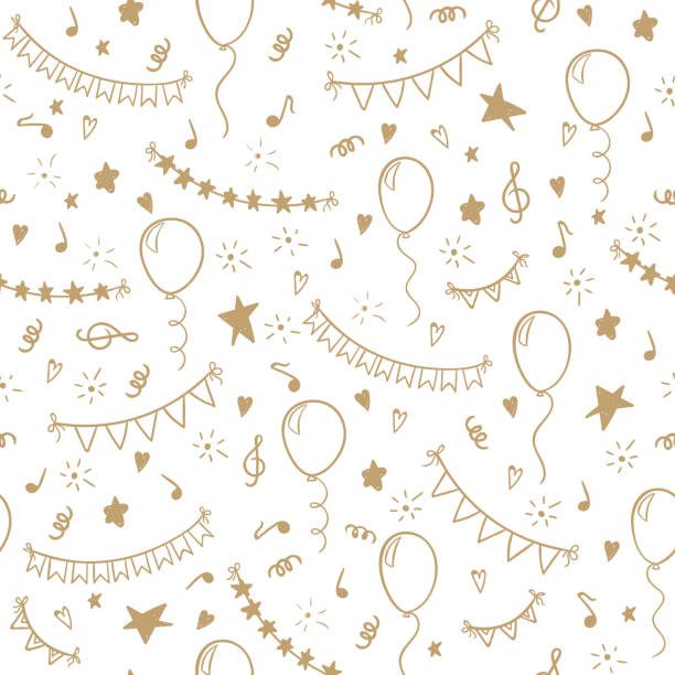seamless pattern hand drawn doodle cartoon objects and symbols of birthday party. design holiday greeting card and invitation of wedding, Happy mother day, birthday, Valentine s day and holidays. seamless pattern hand drawn doodle cartoon objects and symbols of birthday party. design holiday greeting card and invitation of wedding, Happy mother day, birthday, Valentine s day and holidays anniversary patterns stock illustrations