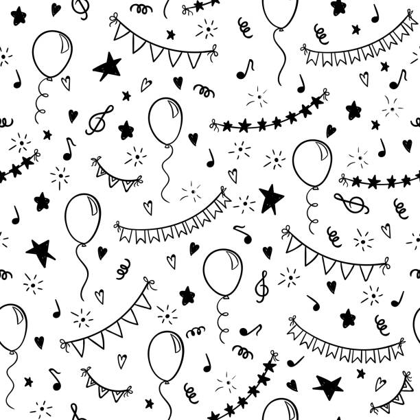 seamless pattern hand drawn doodle cartoon objects and symbols of birthday party. design holiday greeting card and invitation of wedding, Happy mother day, birthday, Valentine s day and holidays seamless pattern hand drawn doodle cartoon objects and symbols of birthday party. design holiday greeting card and invitation of wedding, Happy mother day, birthday, Valentine s day and holidays. birthday designs stock illustrations
