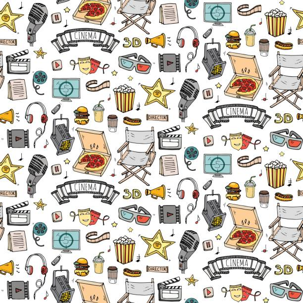 Seamless pattern Hand drawn doodle Cinema set. Vector illustration. Movie making icons. Film symbols collection. Cinematography freehand: camera, film tape, photo camera, pizza, popcorn, projector. vector art illustration