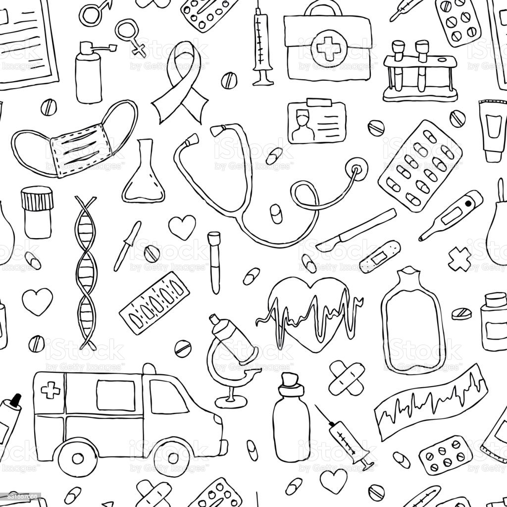 seamless pattern hand drawn doodle medicine. Hand drawn