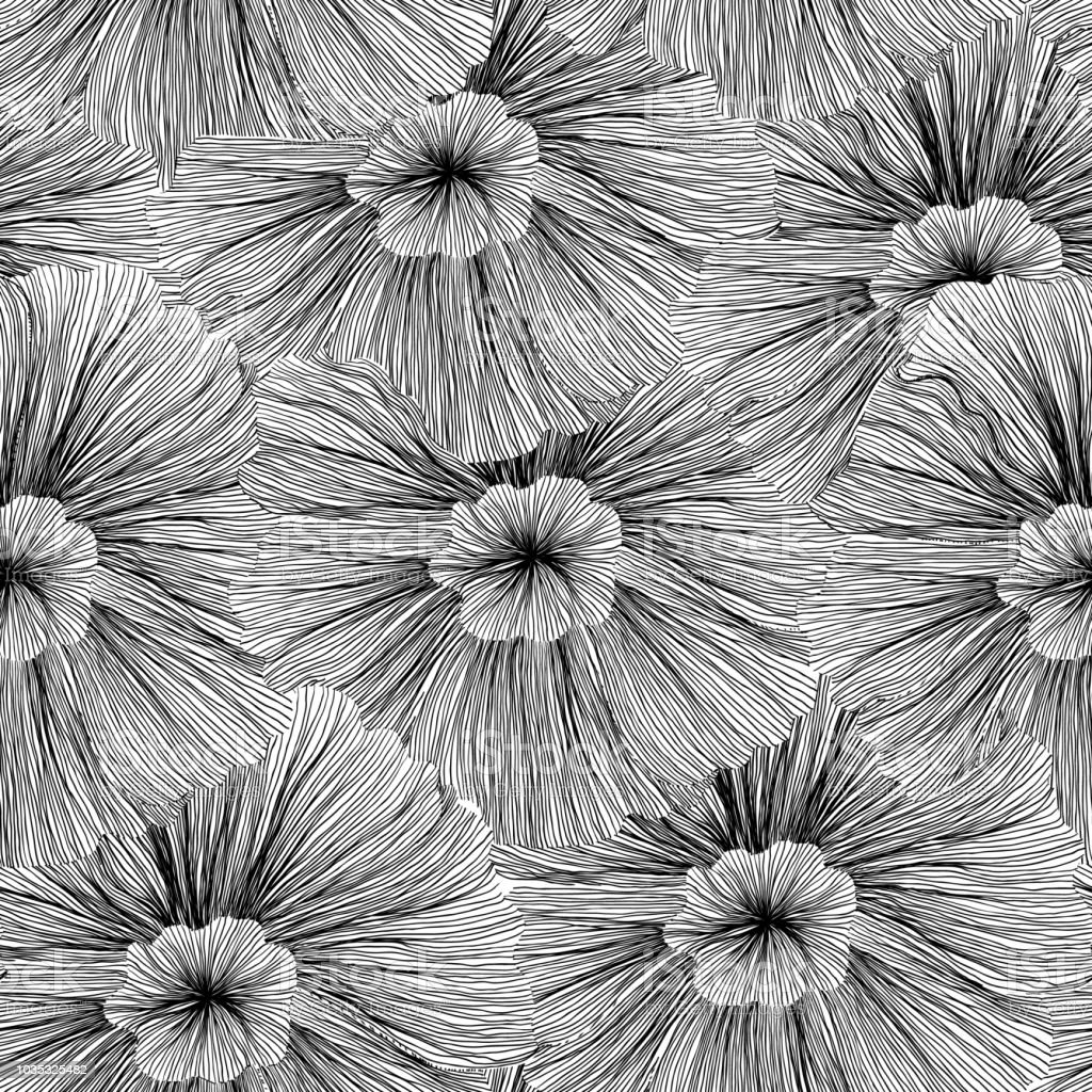 Seamless pattern, hand drawn flowers in black and white line art ink