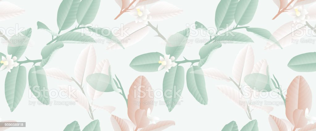 Seamless Pattern Hand Drawn Pastel Green Brown And White Lime