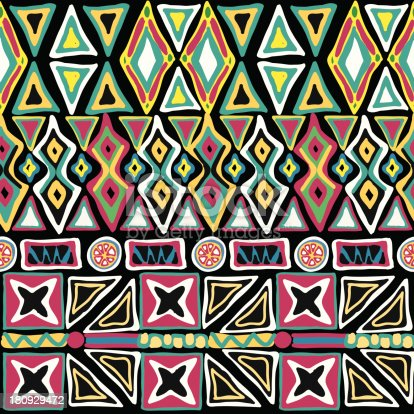 seamless vector ornament on black background, native-american style