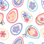 Seamless pattern happy Easter. Background with colorful decorated Easter eggs and spring flowers. Scandinavian hand drawn style. Vector illustration. Design for fabric, packaging paper, textiles