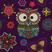 Seamless pattern illustration from owl and mandala flowers in boho