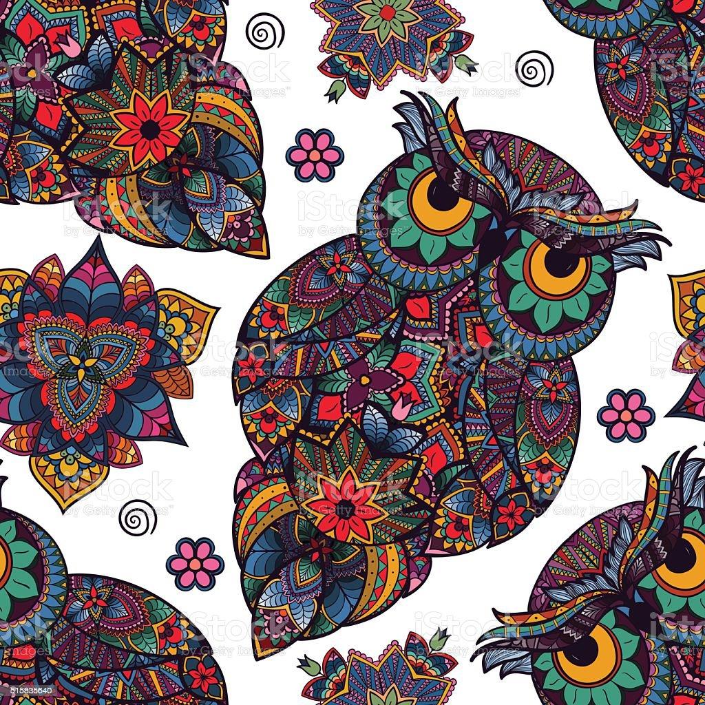 Buho Tatuaje Mandala ilustración de sin costura patrón ilustración de búho y