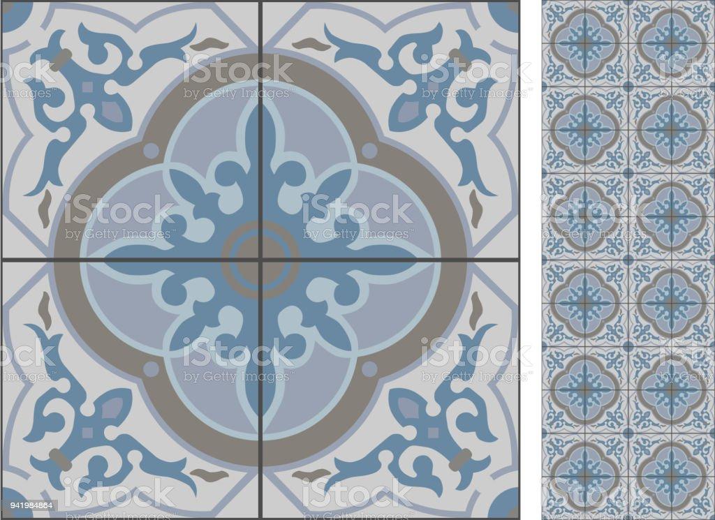 Nahtlose Muster Abbildung Im Traditionellen Stil Wie Portugiesische - Portugiesische fliesen bilder