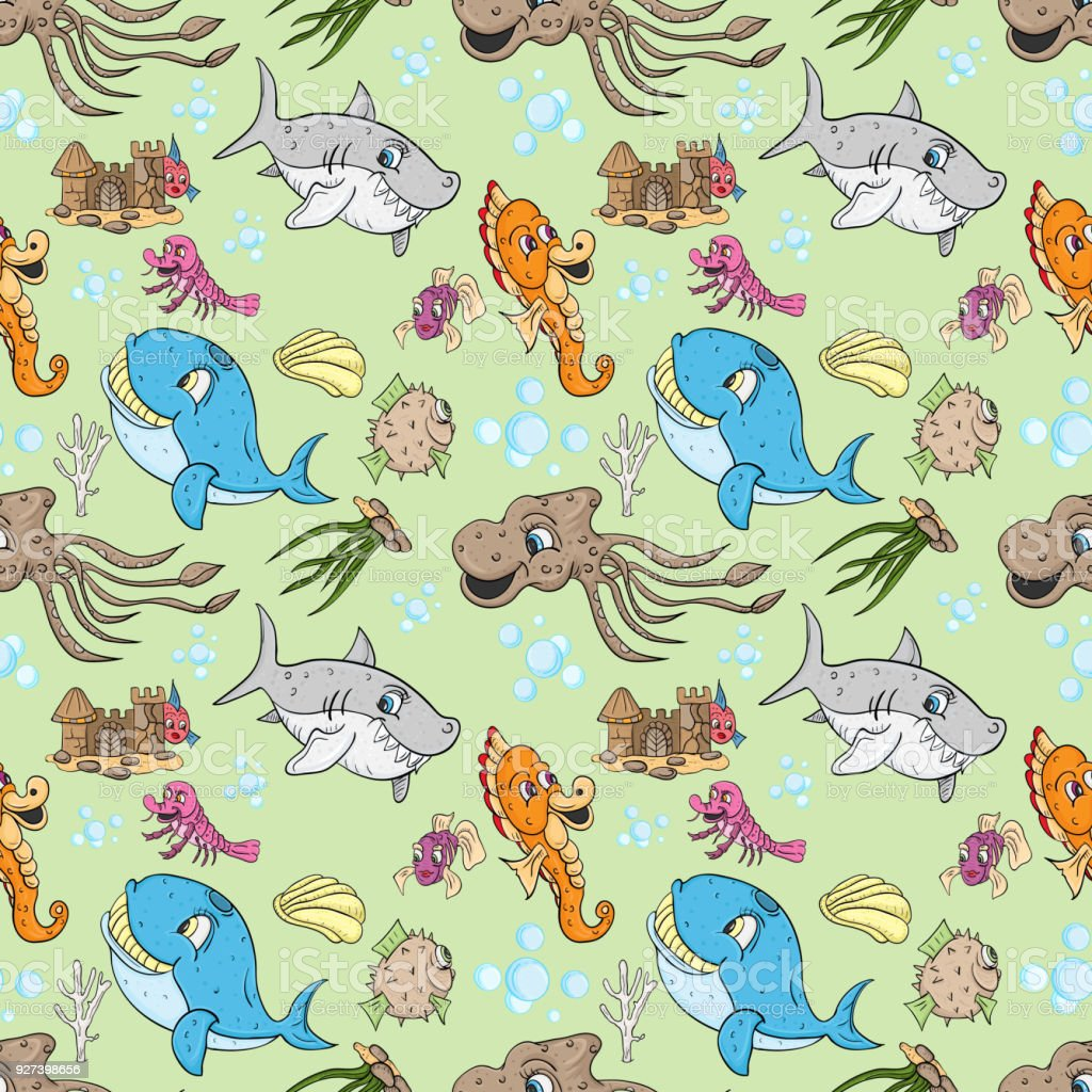 Seamless pattern illustration of underwater fish and water seamless pattern illustration of underwater fish and water inhabitants underwater world green background royalty freerunsca Gallery