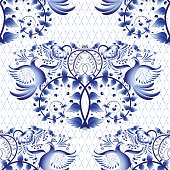 Seamless pattern imitation of painting on porcelain in the Russian style Gzhel or Chinese painting. Light background with birds. Vector illustration.