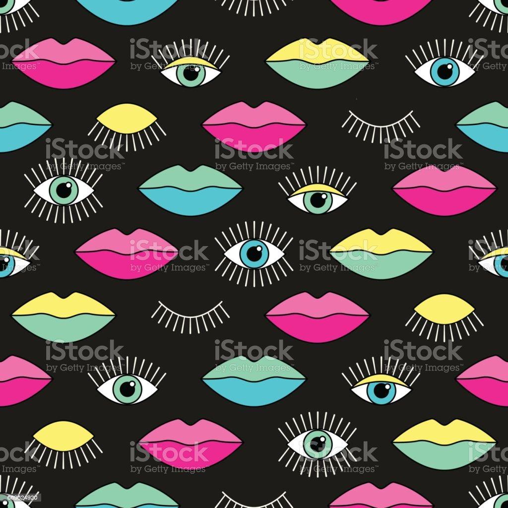 Seamless pattern in 80s style with eyes and lips vector art illustration