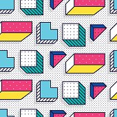 Seamless pattern in 90 80 style with simple geometric elements shapes