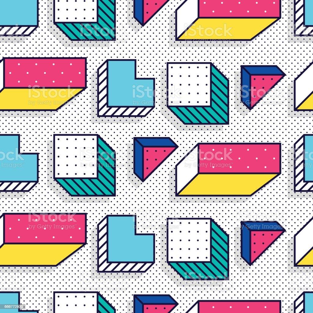 Seamless pattern in 90 80 style vector art illustration