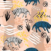 Seamless pattern in african tribal style. Texture with leopards and handcrafted textures and shapes. Perfect for fabric, textile, wrapping. Vector Illustration