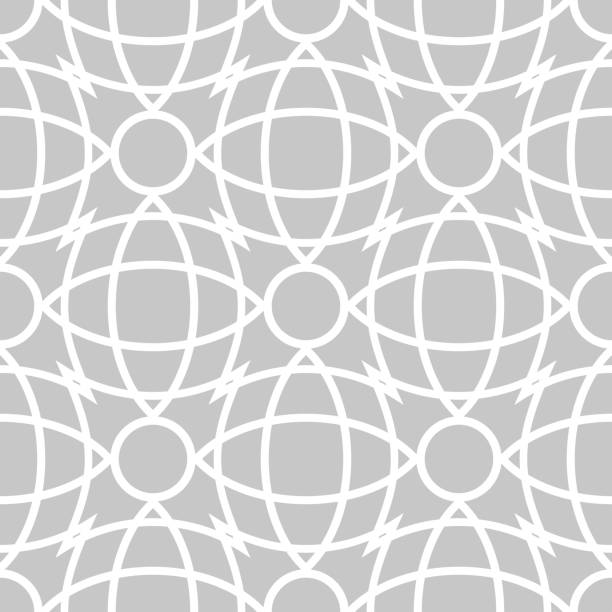 Seamless pattern in arabic style. Gray and white background vector art illustration