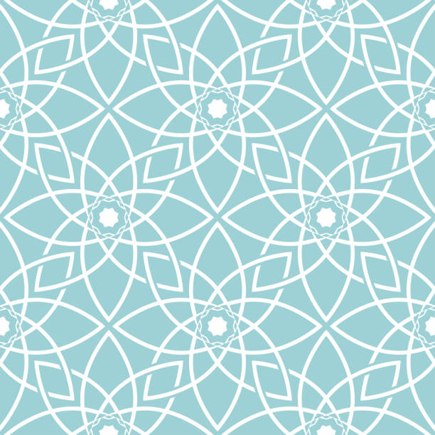 Bекторная иллюстрация Seamless pattern in arabic style. White print on blue background