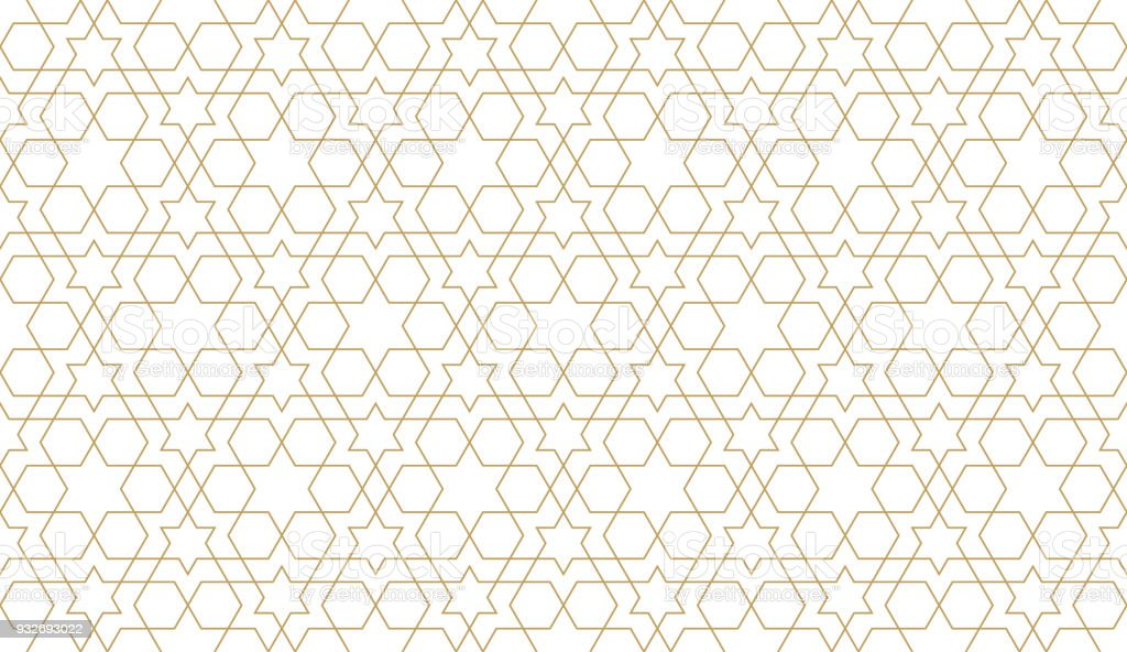 Seamless pattern in authentic arabian style. Unexpanded strokes vector art illustration