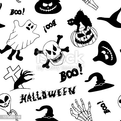 istock Seamless pattern in Doodle style. Illustration on the theme of Halloween. Image with skulls, pumpkins, hats and bones 1279501354