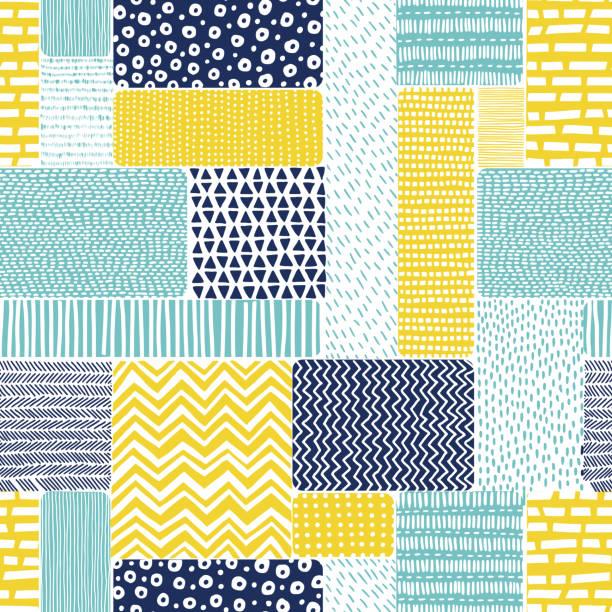 stockillustraties, clipart, cartoons en iconen met naadloos patroon in doodle stijl. patchwork ornament getekend met de hand. - patchwork