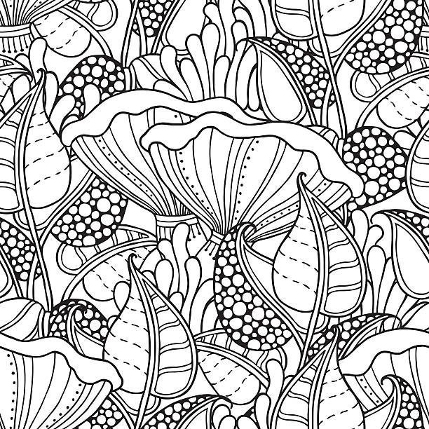 Seamless pattern in doodle style Seamless pattern in doodle style. Floral, ornate, decorative, forest vector design elements. Black and white background. Leaves, moss, chanterelle mushroom.  mistery stock illustrations