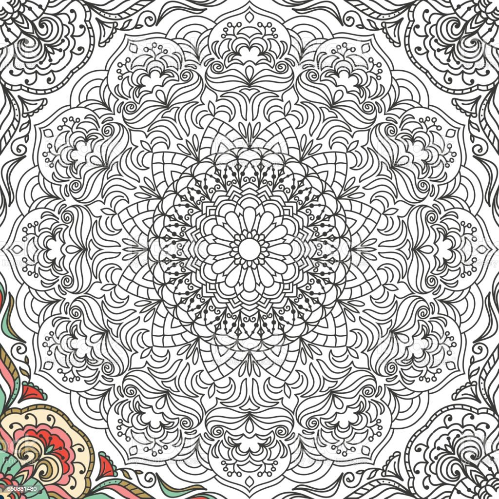 Seamless pattern in doodle style with floral mandala Coloring book page vector art illustration