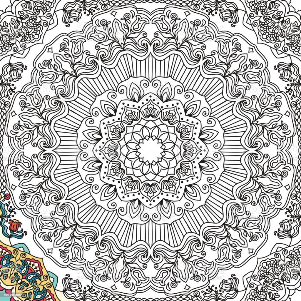 Mandala Kleurplaten Boek.Naadloze Patroon In Doodle Stijl Met Bloemen Mandala Kleurplaat Boek
