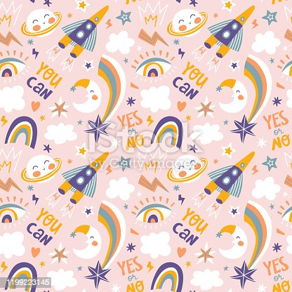 istock Seamless pattern in hand drawn style for kids fabric or wallpaper. Vector repeated background. Space print. 1199223145