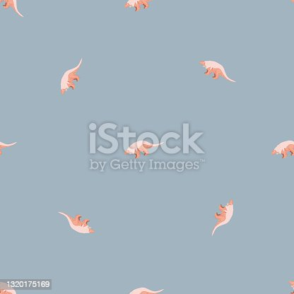 istock Seamless pattern in minimalistic style with cute dinosaurs little silhouettes. Pastel blue background. Animal backdrop. 1320175169