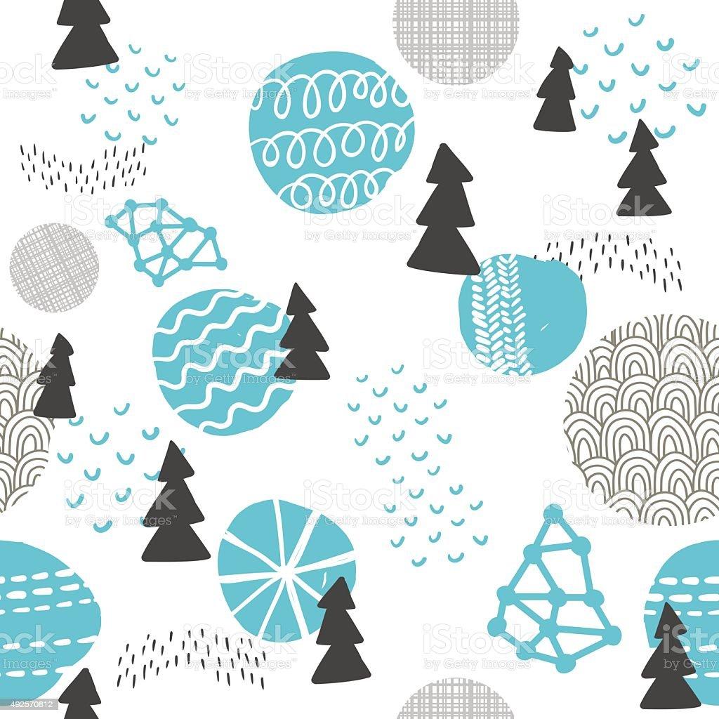 Seamless pattern in modern Scandinavian style. vector art illustration