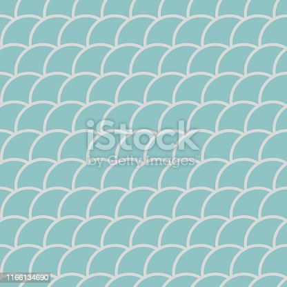 Seamless pattern in oriental motifs in shades of green, fish scales background, vector illustration