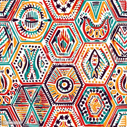 seamless pattern in patchwork style, ethnic and tribal motifs, handwork