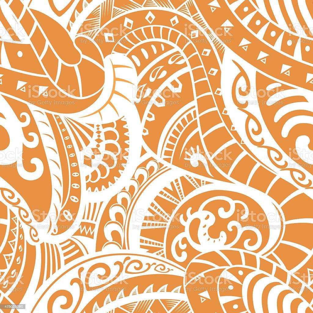 Seamless pattern in Polynesian style vector art illustration
