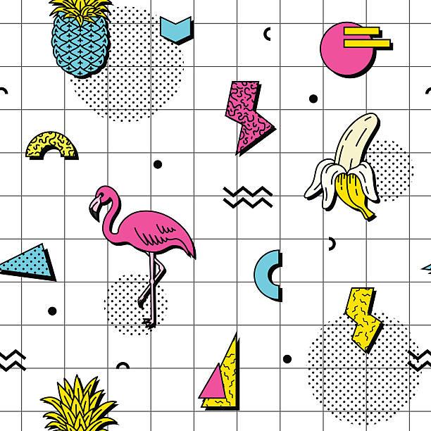 Seamless pattern in retro funky style vector art illustration
