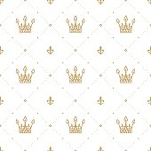 Seamless pattern in retro style with a gold crown on a white background. Can be used for wallpaper, pattern fills, web page background, surface textures. Vector Illustration