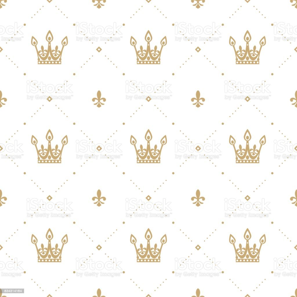 Seamless pattern in retro style with a gold crown on a white background. Can be used for wallpaper, pattern fills, web page background, surface textures. Vector Illustration. vector art illustration