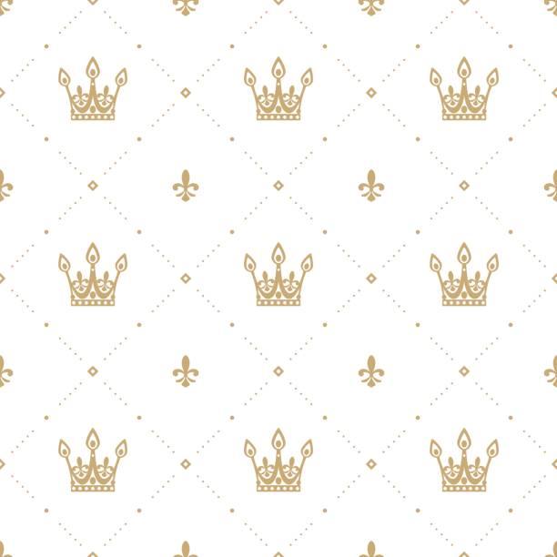 흰색 바탕에 골드 왕관과 함께 복고 스타일에서 완벽 한 패턴입니다. 벽지, 패턴 채우기, 웹 페이지 배경, 표면 질감에 대 한 사용할 수 있습니다. 벡터 일러스트입니다. - 왕족 stock illustrations