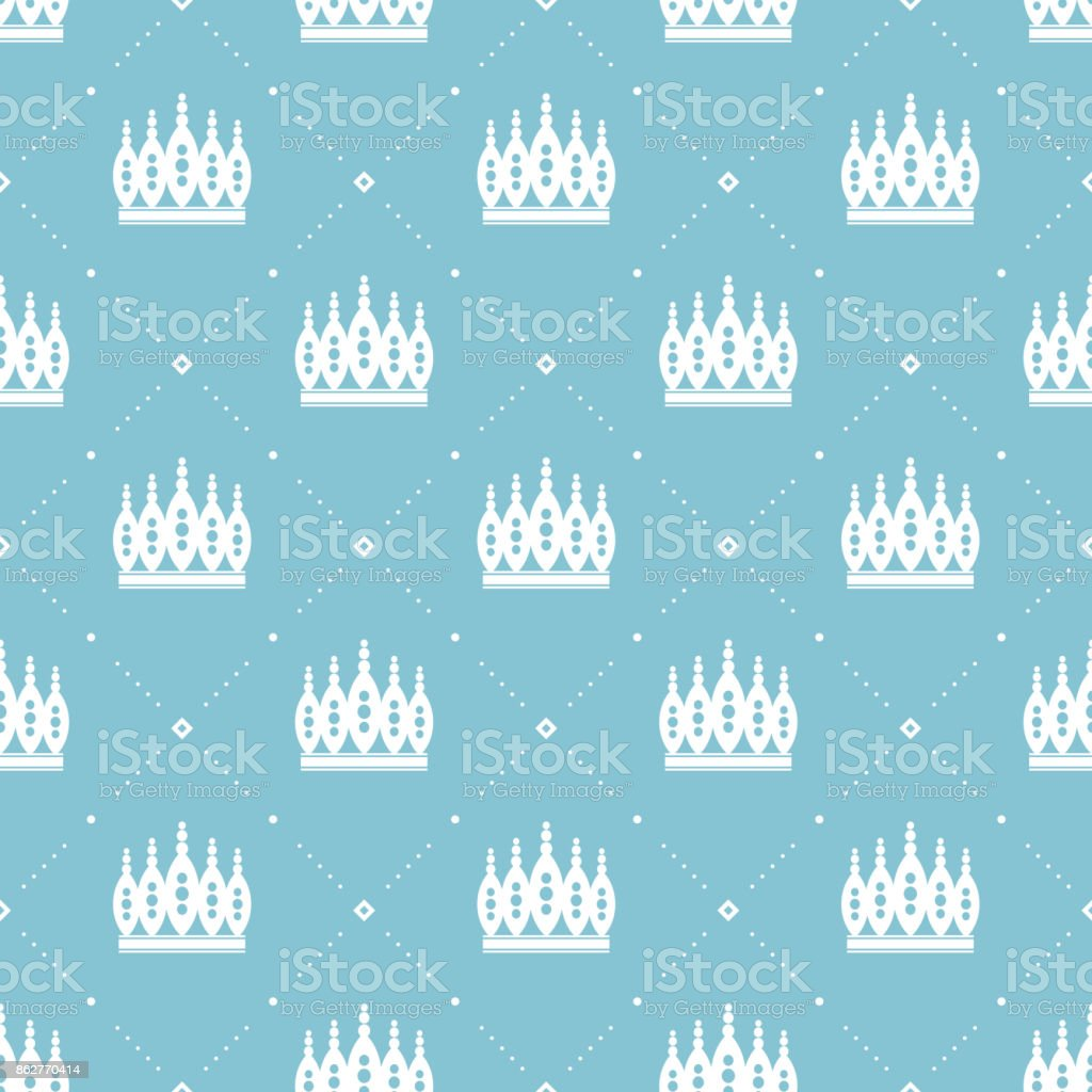 Seamless pattern in retro style with a white crown on a turquoise background. Can be used for wallpaper, pattern fills, web page background,surface textures. Vector Illustration. vector art illustration